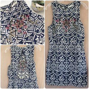 Navy Blue + Cream Embroidered Mini Dress.